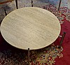 Mid Century Modern Travertine & Chrome Coffee Table