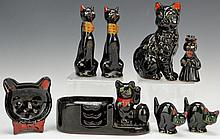 Japanese Porcelain Black Cat Grouping
