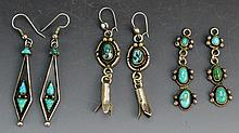 Early Navajo Silver Turquoise Earring Grouping