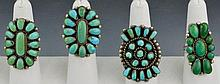 Zuni and Navajo Silver Turquoise Ring Grouping