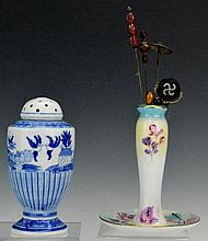 Limoges and Blue Hatpin Holder Grouping