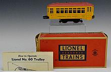 Lionel No. 60 Trolley with OB and Instructions
