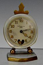 Antique Fleur De Lys De Paris MOP Carriage Clock