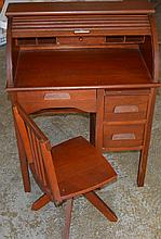 Child Roll Top Desk and Chair