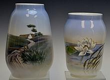 Royal Copenhagen Painted Porcelain Vases