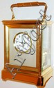 France, large and unusual year running carriage clock, the polished brass Corniche case with beveled glass panels, matte finished gilt frame for matte silver dial mat, white enamel dial with Arabic numerals, blued steel Breguet style hands with