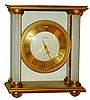 Angelus, Swiss, 8 days, brass and glass time only desk clock, 20th century