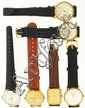 Wrist watches- 6 (Six) mechanical watches with leather straps, all ticking