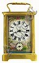 French carriage clock, polished brass Corniche