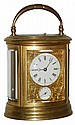 French oval brass and beveled glass time, strike,