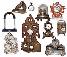 Watch Holders- 8 (Eight) with 6 (Six) watches, one Parker nickel novelty alarm clock, all antique