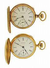 Pocket watches- 2 (Two): O size Waltham pendant watch, 15 jewel damascened nickel movement, 14 karat yellow gold, engraved hunting case, Roman numeral white enamel dial, serial #16356541, O size Waltham pendant watch, 7 jewel damascened nickel