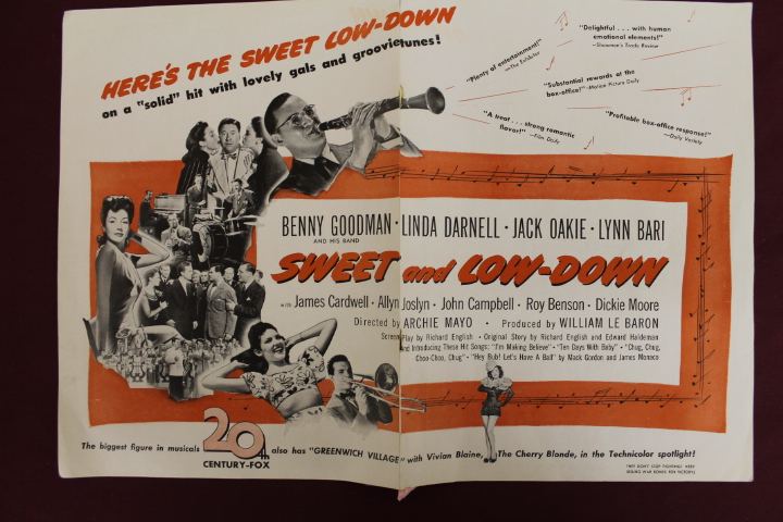 Sweet and Low-Down Movie Fold-Out - 12 1/4 x 18 - Rips in Crease