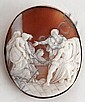 Yellow metal oval framed shell cameo brooch