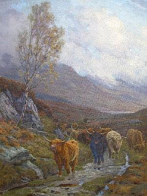 Charles E Stewart, oil on canvas, highland cattle