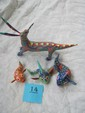 Painted wooden carvings 3 fish, 1 dragon (as is), Oxana Mexico