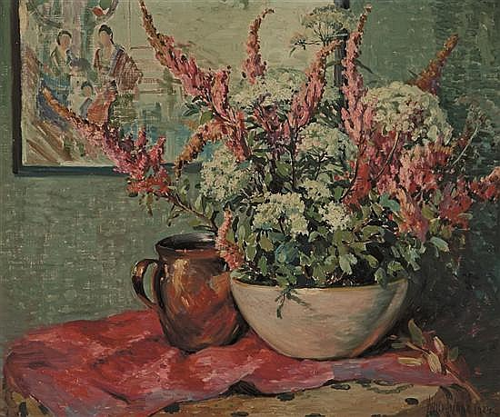 MATILDA BROWNE American (1869-1947) Flowers and Copper Pot on a Tabletop oil on canvas, signed lower right and dated 1924.