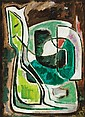 WERNER DREWES, American (1899-1985), Untitled, oil on canvas on board, monogrammed lower right and dated 45, signed, monogrammed and...