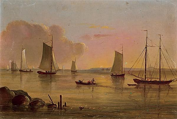 MARY BLOOD MELLEN (attributed), American (1817-1882), A Quiet Harbor, oil on canvas, unsigned., 9 x 13