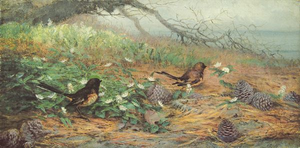 FIDELIA BRIDGES American (1835-1924) Birds, Flowers and Pine Cones oil on canvas, 10 x 20, signed lower left. Provenance: A Long Island, New York estate.