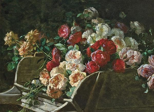 GEORGE COCHRAN LAMBDIN American (1830-896) Roses in a Wheelbarrow oil on canvas, unsigned.