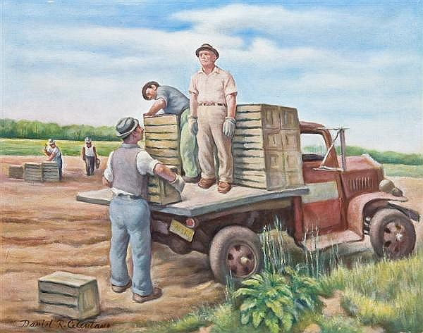 DANIEL R. CELENTANO, American (1902-1980), The Potato Pickers, oil on canvas, signed lower left., 20 x 25