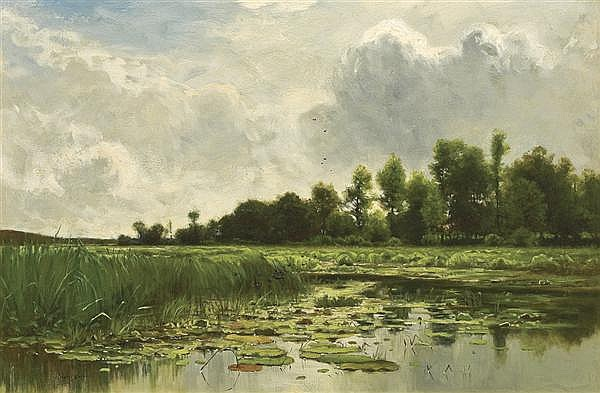 CHARLES HARRY EATON American (1850-1901) The Lily Pond oil on canvas, signed lower left. Painted c. 1890.