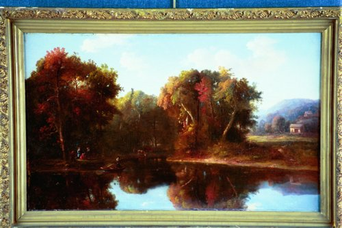 REGIS FRANCOIS GIGNOUX American (1816-1882) Gathering at the Pond's Edge, oil on canvas, 15 x 24, signed lower left & dated 1852. Provenance: An Iowa estate. See color plate, page