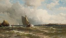 MAURITZ DE HAAS, American/Dutch (1832-1895), Port Tack, oil on canvas, signed lower left., 24 x 40