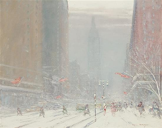 JOHANN BERTHELSEN American (1883-1972) Blustery Day on Fifth Avenue oil on canvas, signed lower right.