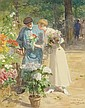 VICTOR GABRIEL GILBERT French (1847-1933) Marche aux Fleurs gouache, signed lower right and inscribed