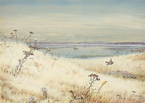 FIDELIA BRIDGES American (1834-1923) A View from the Marsh, Stratford, Connecticut watercolor, signed lower right and dated 1875.