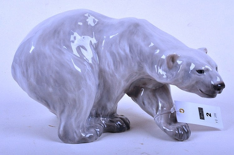 Royal Copenhagen polar bear figure, modelled