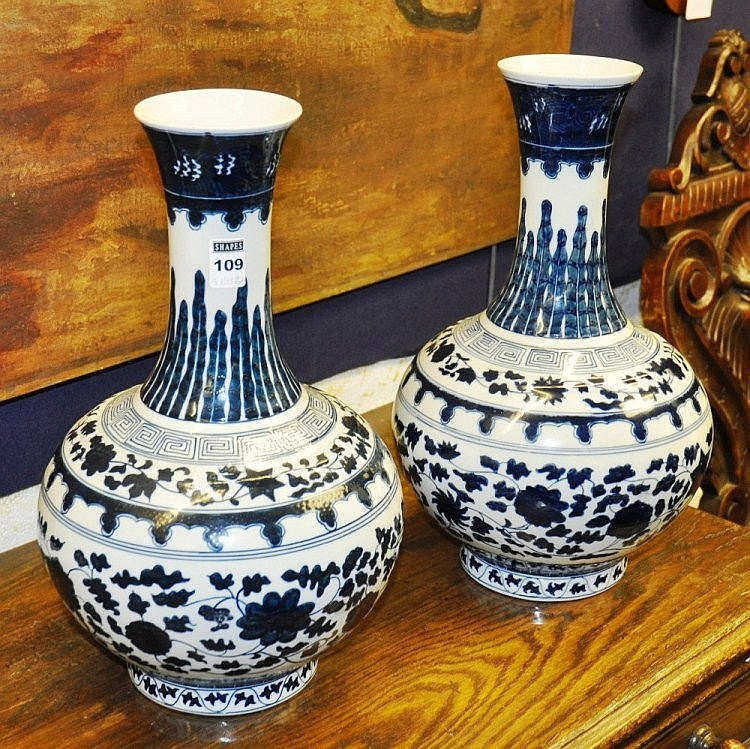 Pair of 20th Century Chinese blue and white bottle