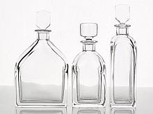 Orrefors, Three Clear Crytsal Decanters