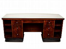 Art Deco Double Pedestal Desk, French,
