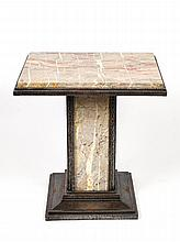 In the Style of Edgar Brandt, Art Deco Marble and Wrought Iron Square Coffee Table, French