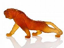 Daum Nancy, Amber Glass Tiger, c. 1980