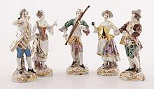 Five nineteenth-century German porcelain figures