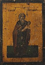Nineteenth-century Russian painted and gilded icon