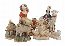 Group of five early Staffordshire figures