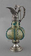 WMF metal mounted and overlay painted glass decanter
