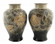 Pair Royal Doulton Florrie Jones vases