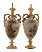 Pair of Royal Worcester Stinton painted vases