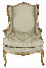 Nineteenth-century carved gilt framed wing back armchair