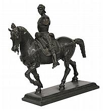 Nineteenth-century spelter figure of a Roman on horseback