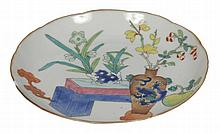 Chinese Qing period polychrome saucer dish