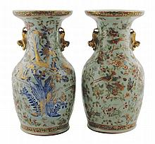 Pair of nineteenth-century Chinese Cantonese polychrome vases