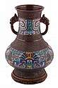 Chinese Qing period bronze and champleve enamelled vase