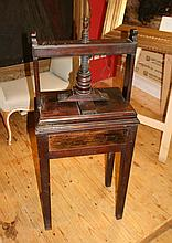 George III period mahogany bookpress on stand